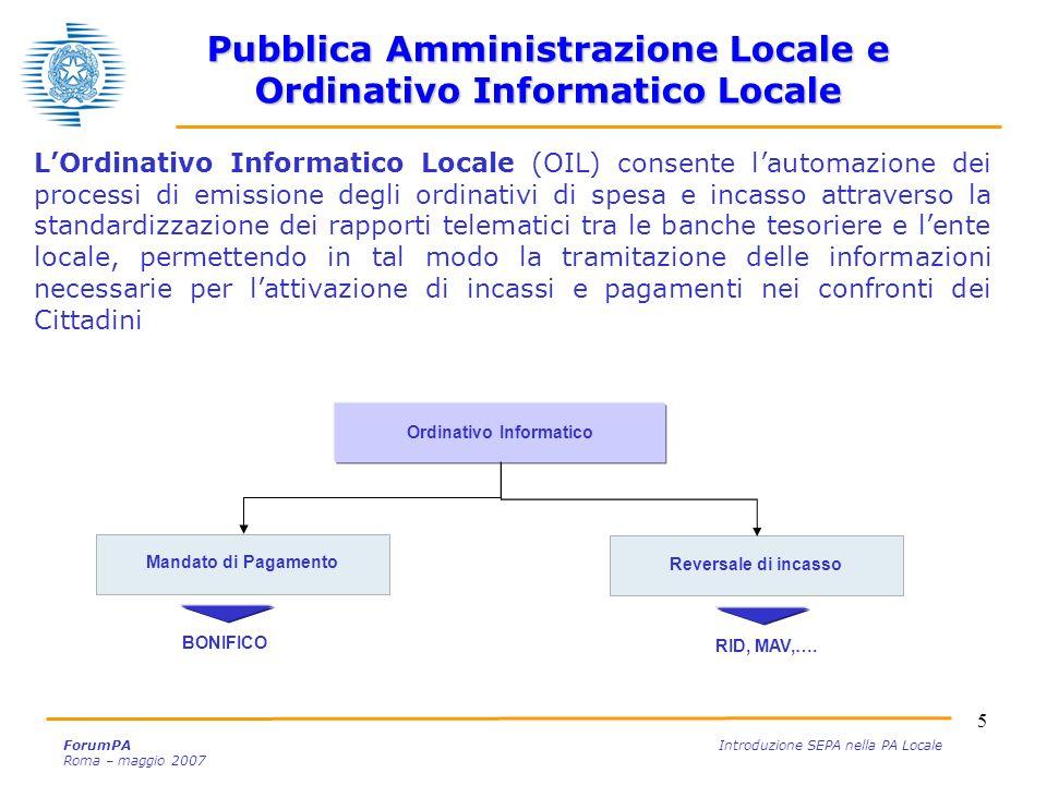 5 ForumPA Introduzione SEPA nella PA Locale Roma – maggio 2007 LOrdinativo Informatico Locale (OIL) consente lautomazione dei processi di emissione de