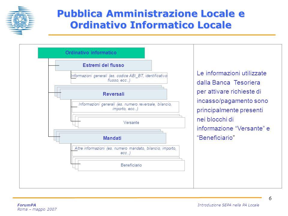 6 ForumPA Introduzione SEPA nella PA Locale Roma – maggio 2007 Ordinativo informatico Estremi del flusso Reversale Informazioni generali (es. codice A