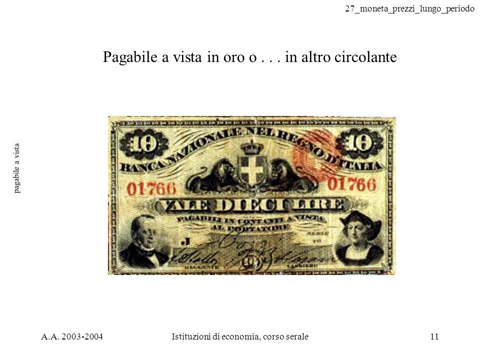 27_moneta_prezzi_lungo_periodo A.A. 2003-2004Istituzioni di economia, corso serale11 pagabile a vista Pagabile a vista in oro o... in altro circolante