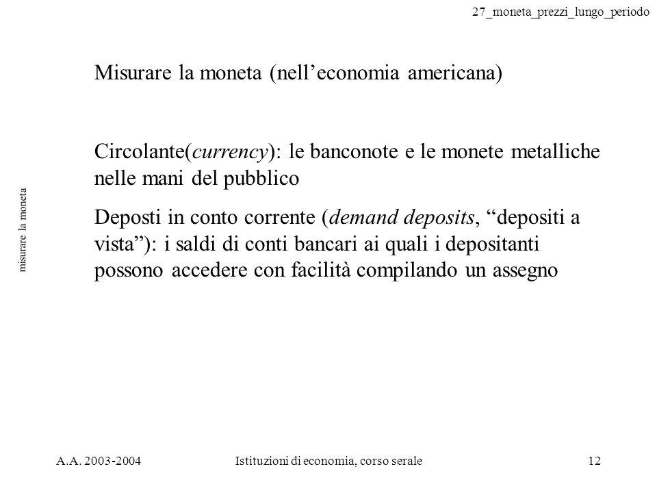 27_moneta_prezzi_lungo_periodo A.A. 2003-2004Istituzioni di economia, corso serale12 misurare la moneta Misurare la moneta (nelleconomia americana) Ci