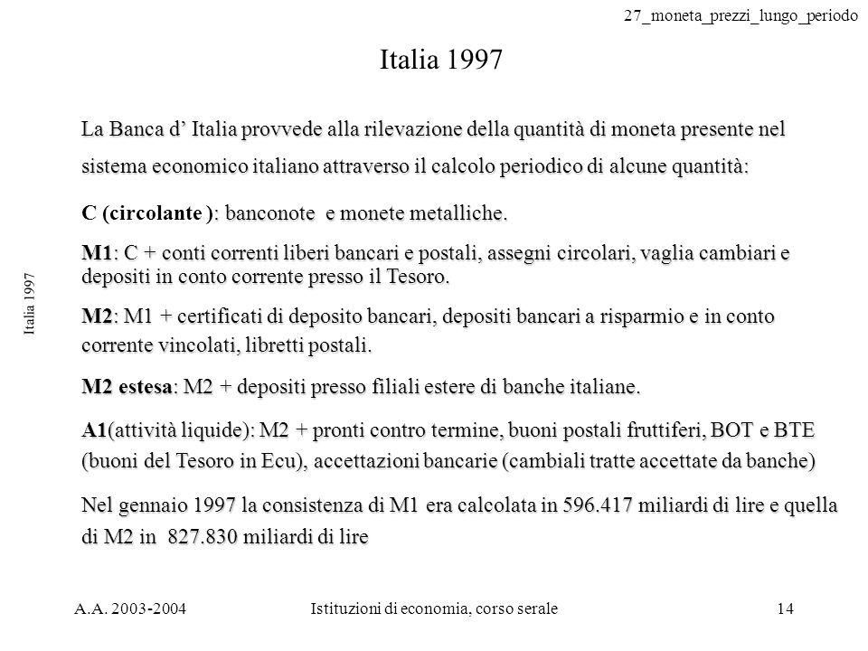 27_moneta_prezzi_lungo_periodo A.A. 2003-2004Istituzioni di economia, corso serale14 Italia 1997 La Banca d Italia provvede alla rilevazione della qua