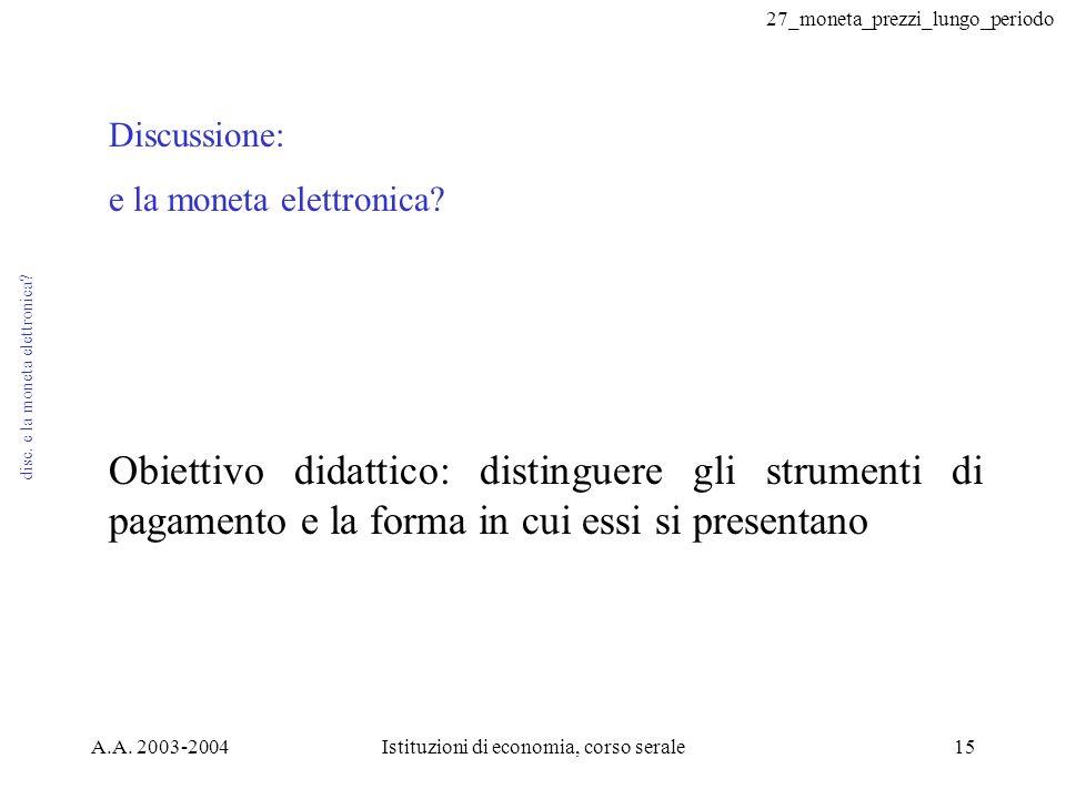 27_moneta_prezzi_lungo_periodo A.A. 2003-2004Istituzioni di economia, corso serale15 disc. e la moneta elettronica? Discussione: e la moneta elettroni