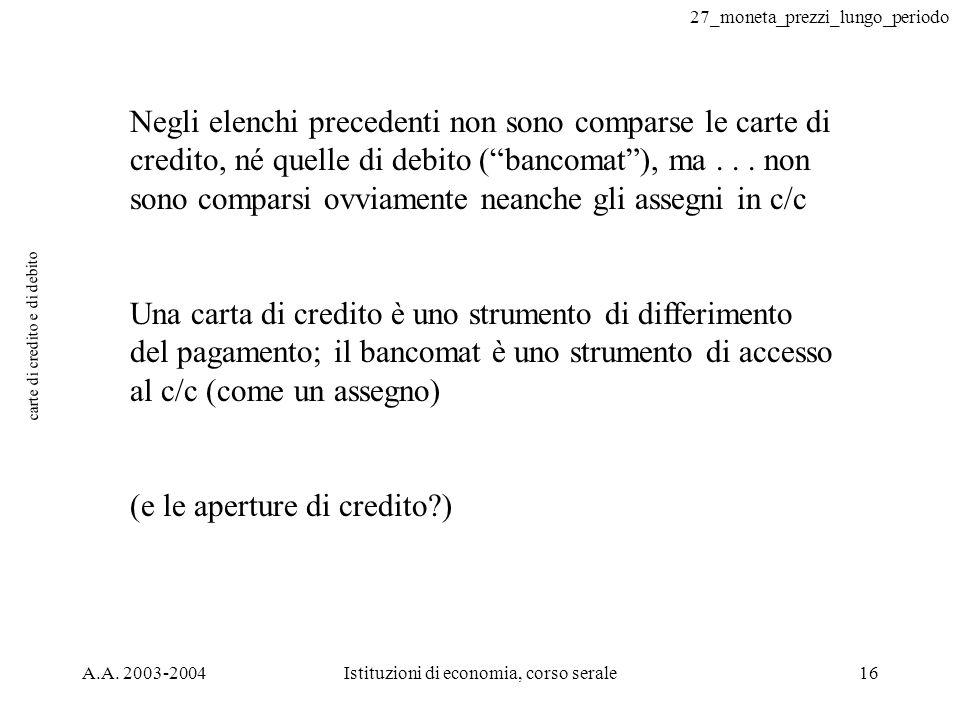 27_moneta_prezzi_lungo_periodo A.A. 2003-2004Istituzioni di economia, corso serale16 carte di credito e di debito Negli elenchi precedenti non sono co