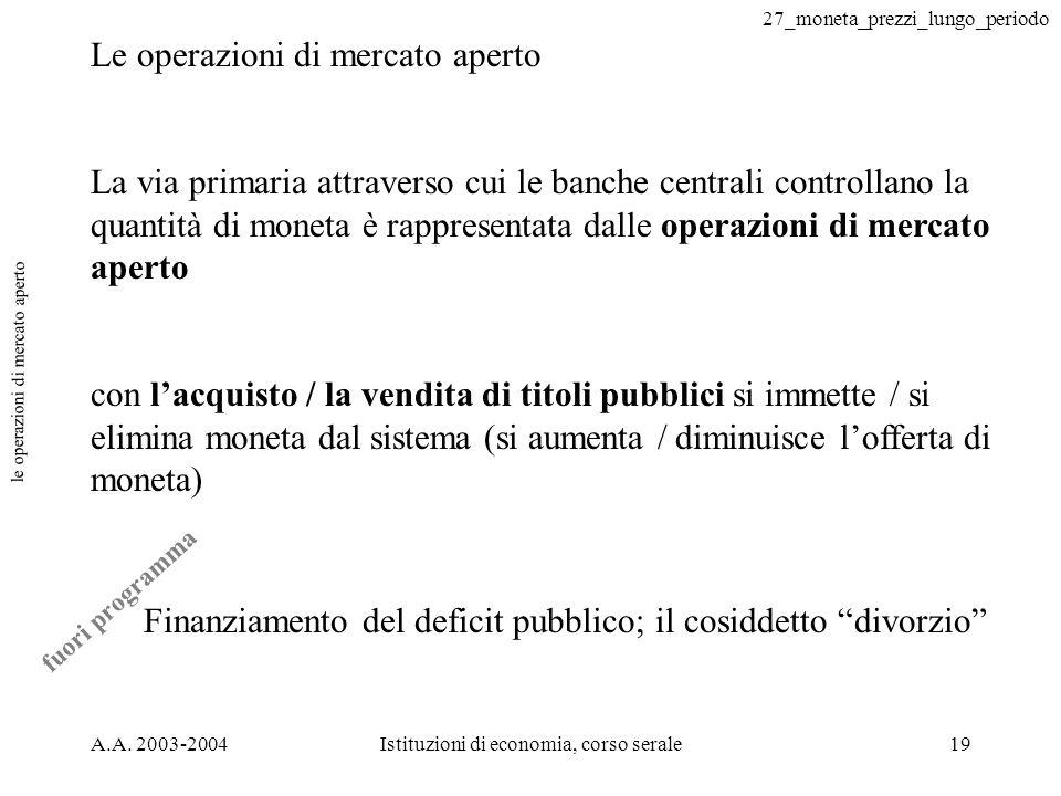 27_moneta_prezzi_lungo_periodo A.A. 2003-2004Istituzioni di economia, corso serale19 le operazioni di mercato aperto Le operazioni di mercato aperto L