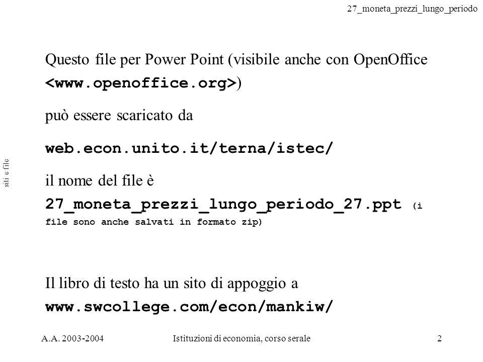 27_moneta_prezzi_lungo_periodo A.A. 2003-2004Istituzioni di economia, corso serale2 Questo file per Power Point (visibile anche con OpenOffice ) può e