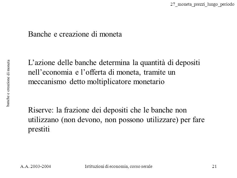 27_moneta_prezzi_lungo_periodo A.A. 2003-2004Istituzioni di economia, corso serale21 banche e creazione di moneta Banche e creazione di moneta Lazione