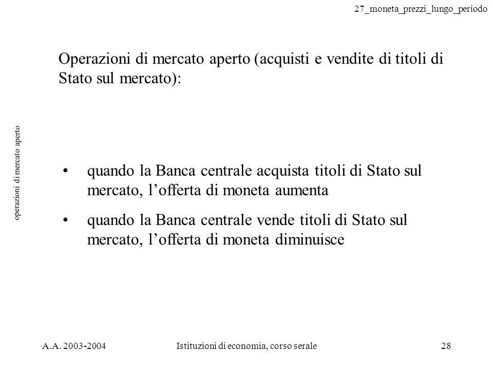 27_moneta_prezzi_lungo_periodo A.A. 2003-2004Istituzioni di economia, corso serale28 operazioni di mercato aperto quando la Banca centrale acquista ti