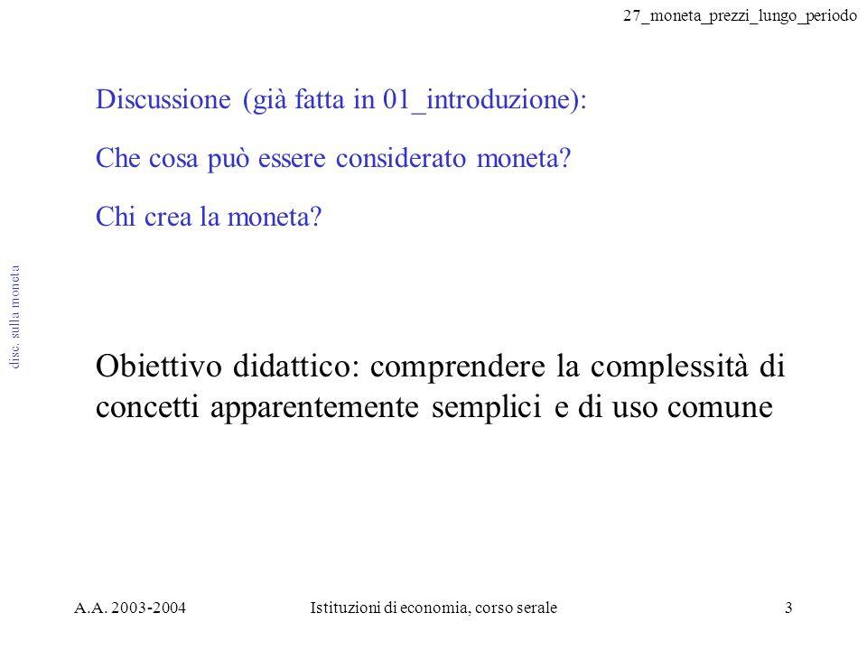 27_moneta_prezzi_lungo_periodo A.A. 2003-2004Istituzioni di economia, corso serale3 Discussione (già fatta in 01_introduzione): Che cosa può essere co