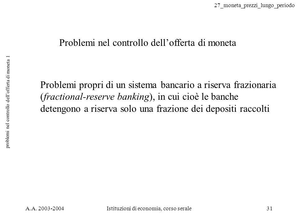 27_moneta_prezzi_lungo_periodo A.A. 2003-2004Istituzioni di economia, corso serale31 problemi nel controllo dellofferta di moneta 1 Problemi nel contr