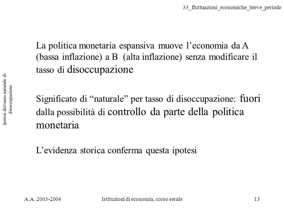 33_fluttuazioni_economiche_breve_periodo A.A. 2003-2004Istituzioni di economia, corso serale13 ipotesi del tasso naturale di disoccupazione La politic