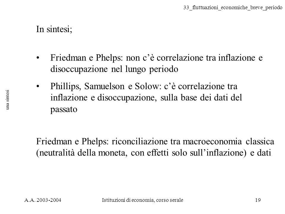 33_fluttuazioni_economiche_breve_periodo A.A. 2003-2004Istituzioni di economia, corso serale19 una sintesi In sintesi; Friedman e Phelps: non cè corre