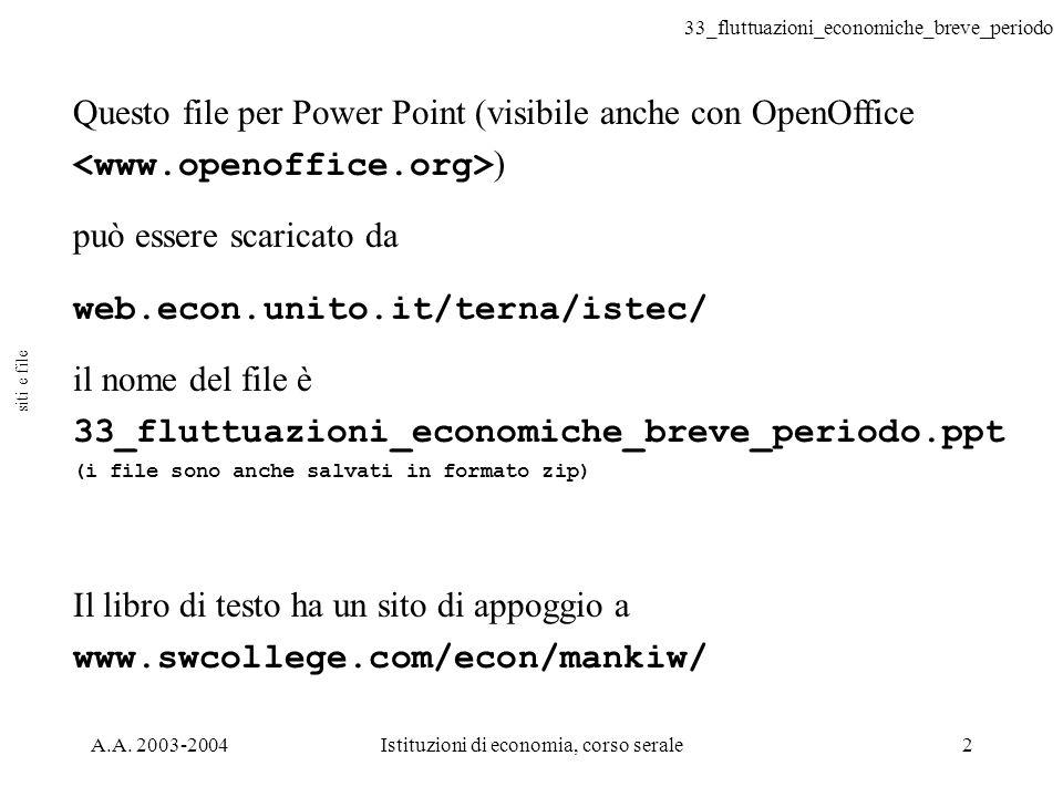 33_fluttuazioni_economiche_breve_periodo A.A. 2003-2004Istituzioni di economia, corso serale2 Questo file per Power Point (visibile anche con OpenOffi
