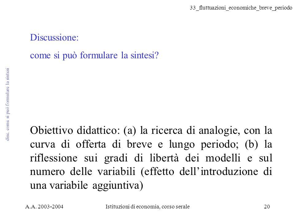 33_fluttuazioni_economiche_breve_periodo A.A. 2003-2004Istituzioni di economia, corso serale20 disc. come si può formulare la sintesi Discussione: com
