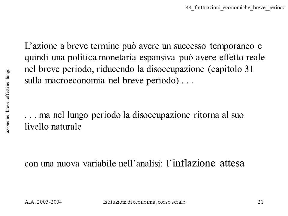 33_fluttuazioni_economiche_breve_periodo A.A. 2003-2004Istituzioni di economia, corso serale21 azione nel breve, effetti nel lungo Lazione a breve ter