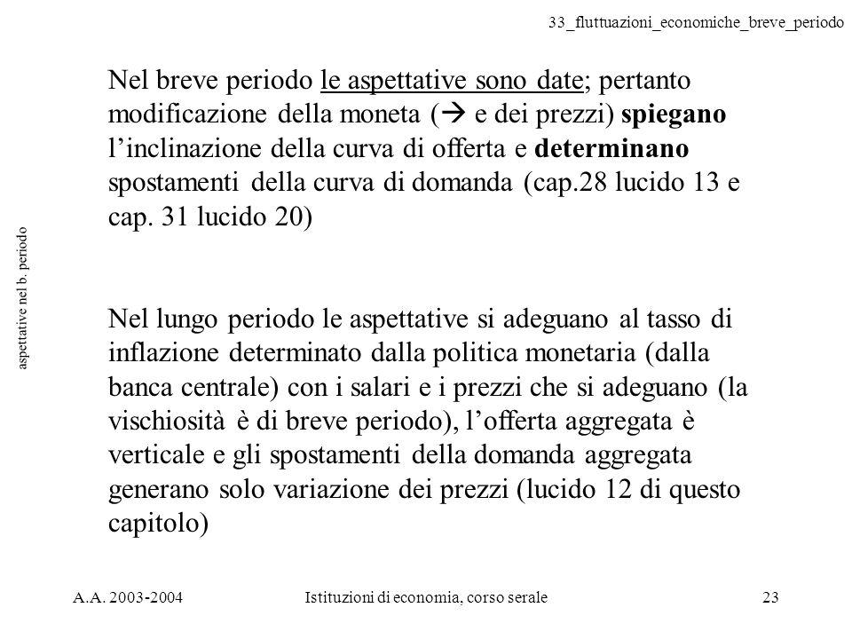 33_fluttuazioni_economiche_breve_periodo A.A. 2003-2004Istituzioni di economia, corso serale23 aspettative nel b. periodo Nel breve periodo le aspetta