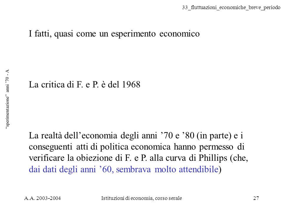 33_fluttuazioni_economiche_breve_periodo A.A. 2003-2004Istituzioni di economia, corso serale27 sperimentazione anni 70 - A I fatti, quasi come un espe