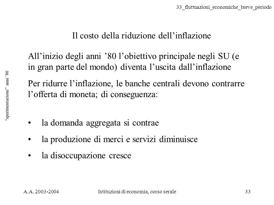 33_fluttuazioni_economiche_breve_periodo A.A. 2003-2004Istituzioni di economia, corso serale33 sperimentazione anni 80 Allinizio degli anni 80 lobiett
