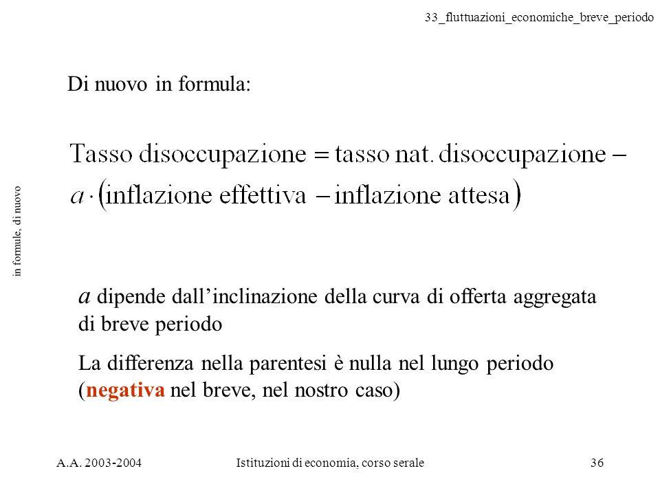 33_fluttuazioni_economiche_breve_periodo A.A. 2003-2004Istituzioni di economia, corso serale36 in formule, di nuovo Di nuovo in formula: a dipende dal