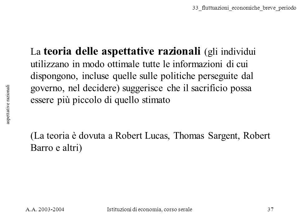 33_fluttuazioni_economiche_breve_periodo A.A. 2003-2004Istituzioni di economia, corso serale37 aspettative razionali La teoria delle aspettative razio