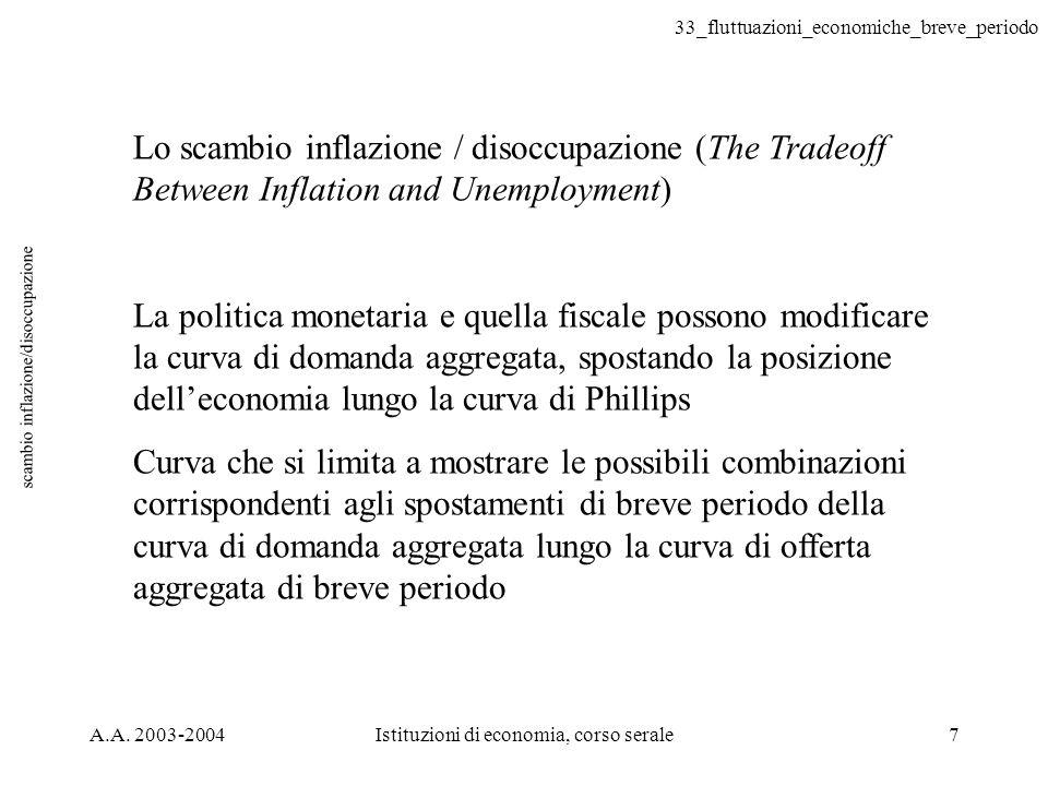 33_fluttuazioni_economiche_breve_periodo A.A. 2003-2004Istituzioni di economia, corso serale7 scambio inflazione/disoccupazione Lo scambio inflazione