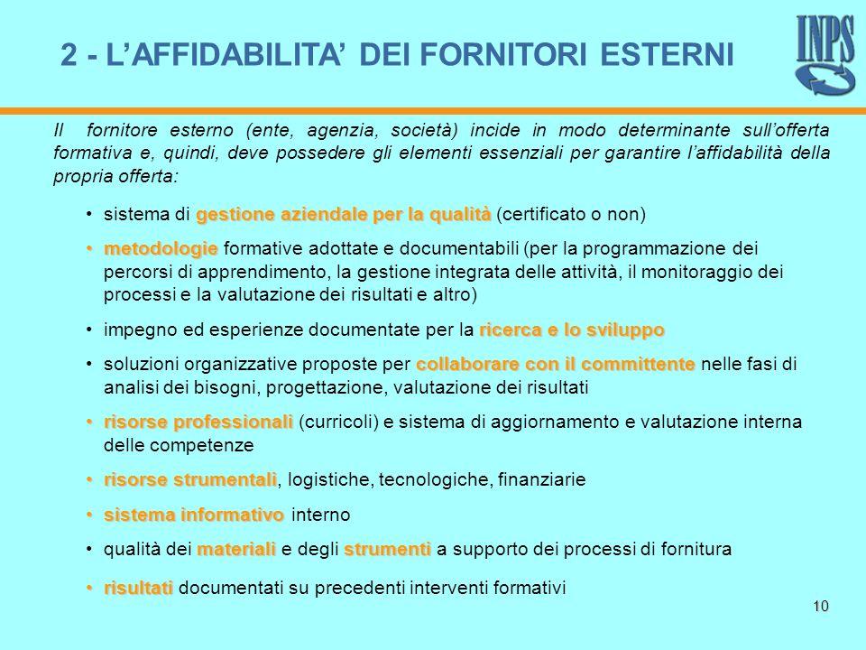 10 Il fornitore esterno (ente, agenzia, società) incide in modo determinante sullofferta formativa e, quindi, deve possedere gli elementi essenziali p