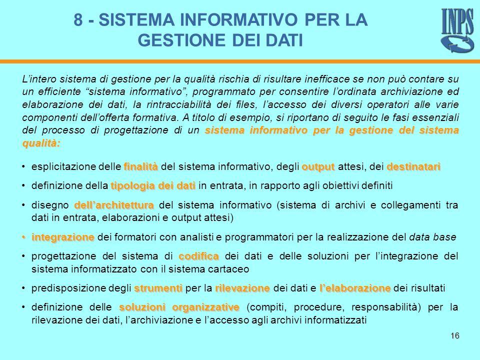 16 finalitàoutputdestinatariesplicitazione delle finalità del sistema informativo, degli output attesi, dei destinatari tipologia dei datidefinizione