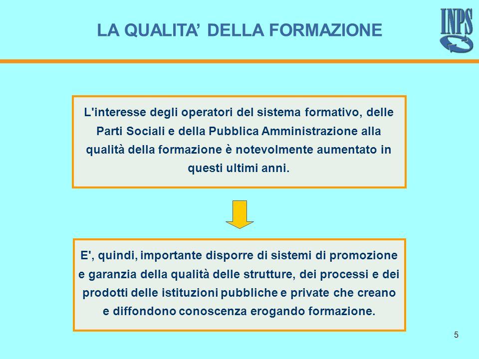 5 E', quindi, importante disporre di sistemi di promozione e garanzia della qualità delle strutture, dei processi e dei prodotti delle istituzioni pub