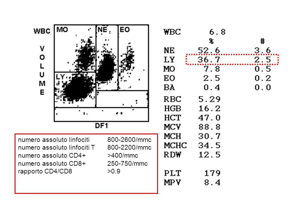 numero assoluto linfociti 800-2600/mmc numero assoluto linfociti T 800-2200/mmc numero assoluto CD4+ >400/mmc numero assoluto CD8+ 250-750/mmc rapport