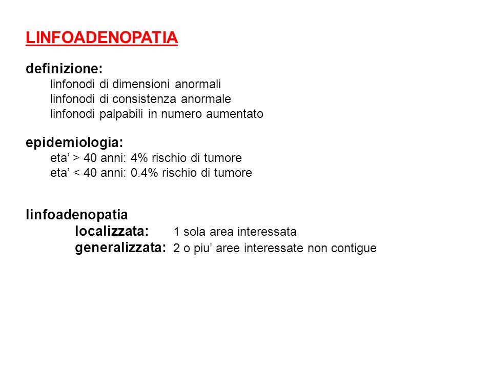 LINFOADENOPATIA definizione: linfonodi di dimensioni anormali linfonodi di consistenza anormale linfonodi palpabili in numero aumentato epidemiologia: