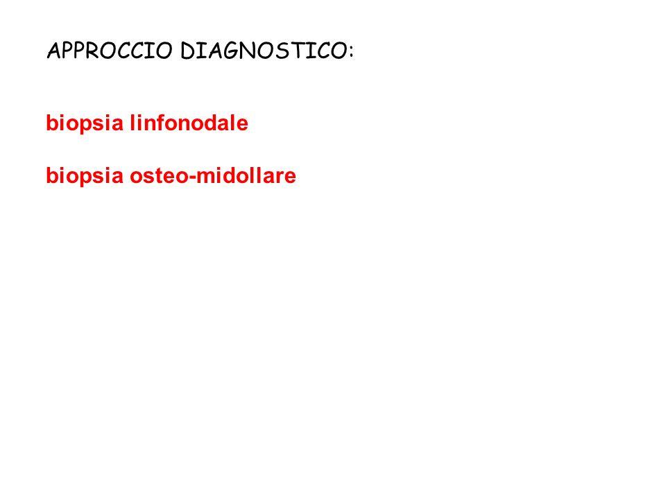 APPROCCIO DIAGNOSTICO: biopsia linfonodale biopsia osteo-midollare