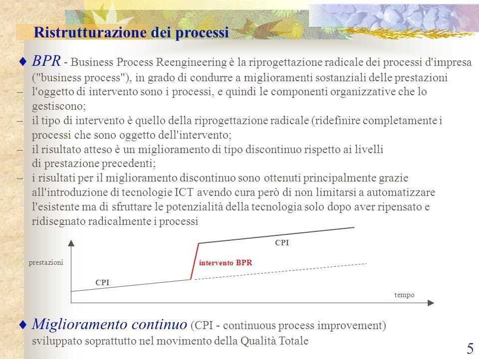5 BPR - Business Process Reengineering è la riprogettazione radicale dei processi d impresa ( business process ), in grado di condurre a miglioramenti sostanziali delle prestazioni –l oggetto di intervento sono i processi, e quindi le componenti organizzative che lo gestiscono; –il tipo di intervento è quello della riprogettazione radicale (ridefinire completamente i processi che sono oggetto dell intervento; –il risultato atteso è un miglioramento di tipo discontinuo rispetto ai livelli di prestazione precedenti; –i risultati per il miglioramento discontinuo sono ottenuti principalmente grazie all introduzione di tecnologie ICT avendo cura però di non limitarsi a automatizzare l esistente ma di sfruttare le potenzialità della tecnologia solo dopo aver ripensato e ridisegnato radicalmente i processi Miglioramento continuo (CPI - continuous process improvement) sviluppato soprattutto nel movimento della Qualità Totale Ristrutturazione dei processi tempo prestazioni intervento BPR CPI