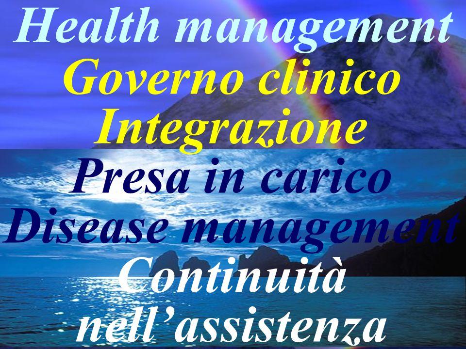 Governo clinico Integrazione Presa in carico Disease management Continuità nellassistenza Health management