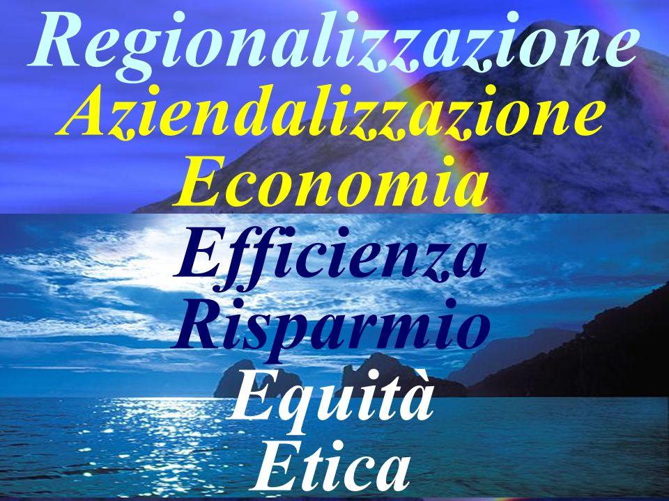 Aziendalizzazione Economia Efficienza Risparmio Equità Etica Regionalizzazione