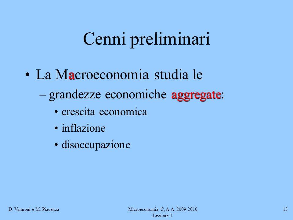 D. Vannoni e M. PiacenzaMicroeconomia C, A.A. 2009-2010 Lezione 1 13 Cenni preliminari aLa Macroeconomia studia le aggregate –grandezze economiche agg