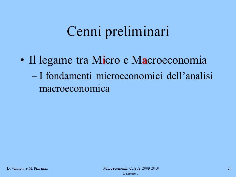 D. Vannoni e M. PiacenzaMicroeconomia C, A.A. 2009-2010 Lezione 1 14 Cenni preliminari iaIl legame tra Micro e Macroeconomia –I fondamenti microeconom