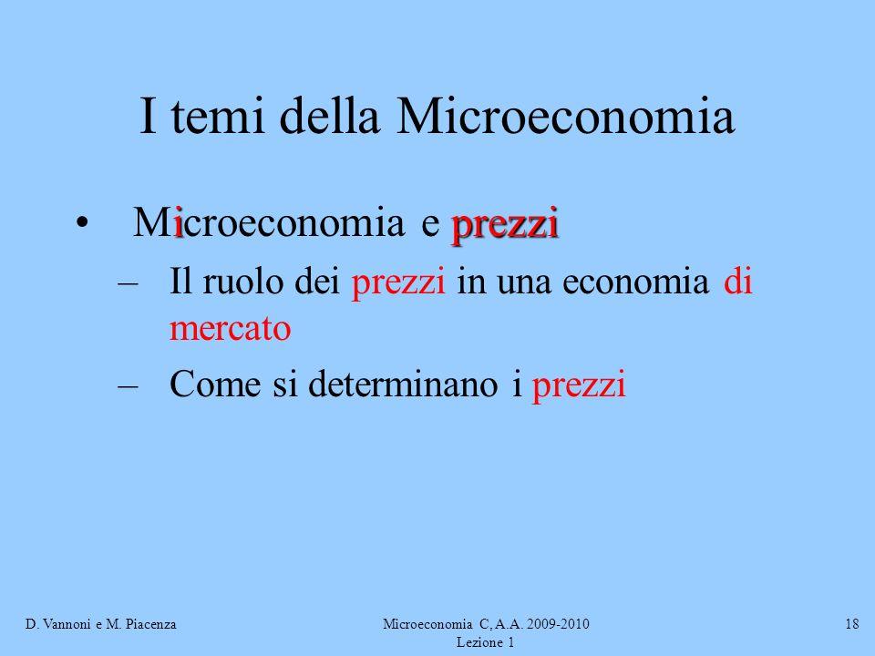 D. Vannoni e M. PiacenzaMicroeconomia C, A.A. 2009-2010 Lezione 1 18 I temi della Microeconomia iprezziMicroeconomia e prezzi –Il ruolo dei prezzi in