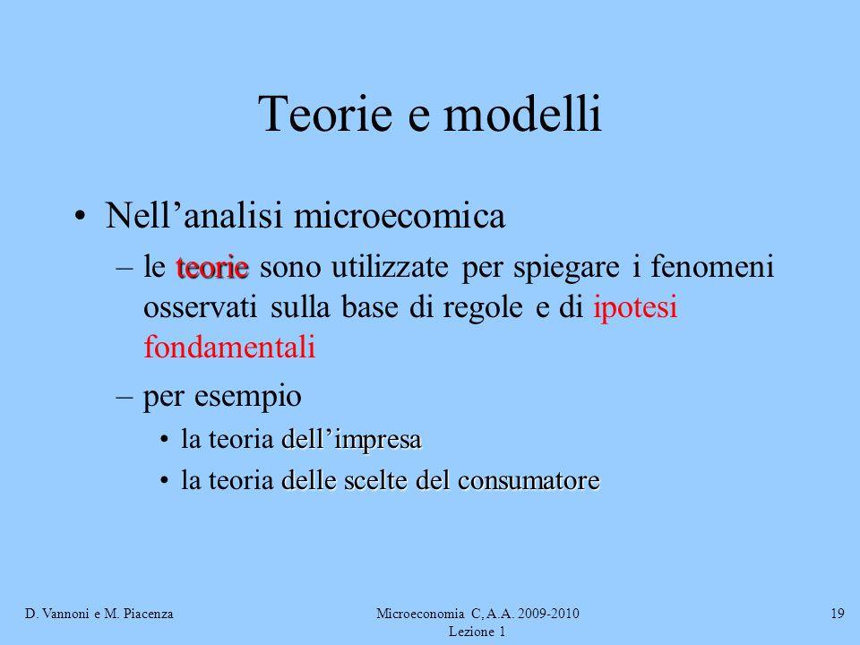 D. Vannoni e M. PiacenzaMicroeconomia C, A.A. 2009-2010 Lezione 1 19 Teorie e modelli Nellanalisi microecomica teorie –le teorie sono utilizzate per s