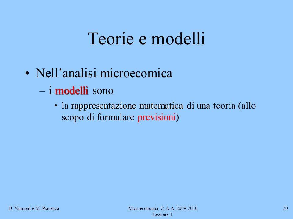 D. Vannoni e M. PiacenzaMicroeconomia C, A.A. 2009-2010 Lezione 1 20 Teorie e modelli Nellanalisi microecomica modelli –i modelli sono rappresentazion