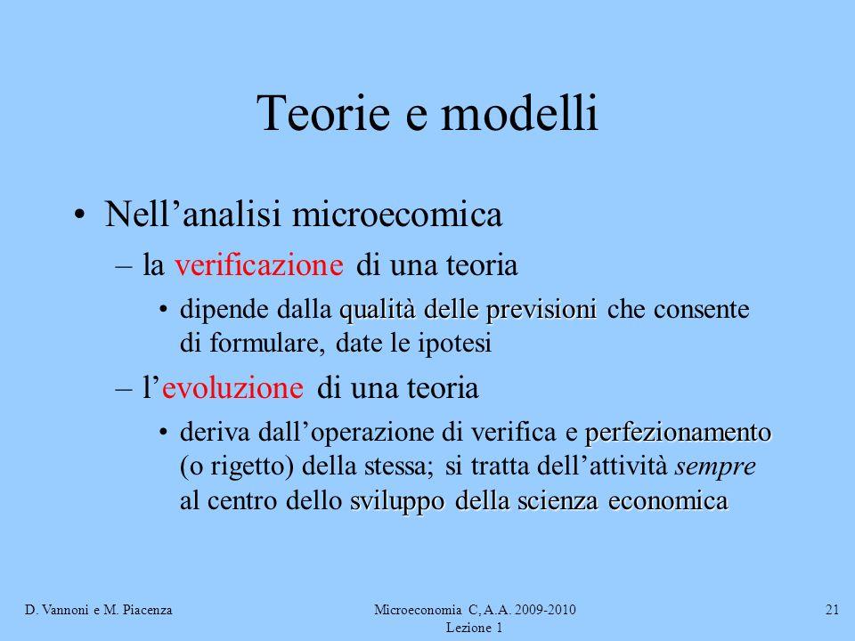 D. Vannoni e M. PiacenzaMicroeconomia C, A.A. 2009-2010 Lezione 1 21 Teorie e modelli Nellanalisi microecomica –la verificazione di una teoria qualità
