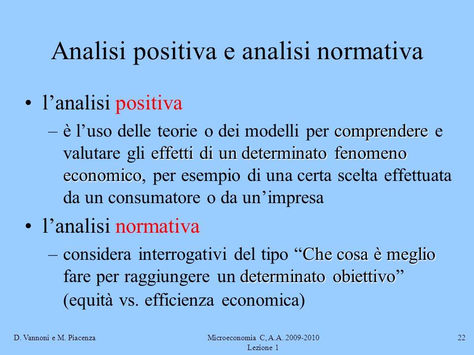 D. Vannoni e M. PiacenzaMicroeconomia C, A.A. 2009-2010 Lezione 1 22 Analisi positiva e analisi normativa lanalisi positiva comprendere effetti di un