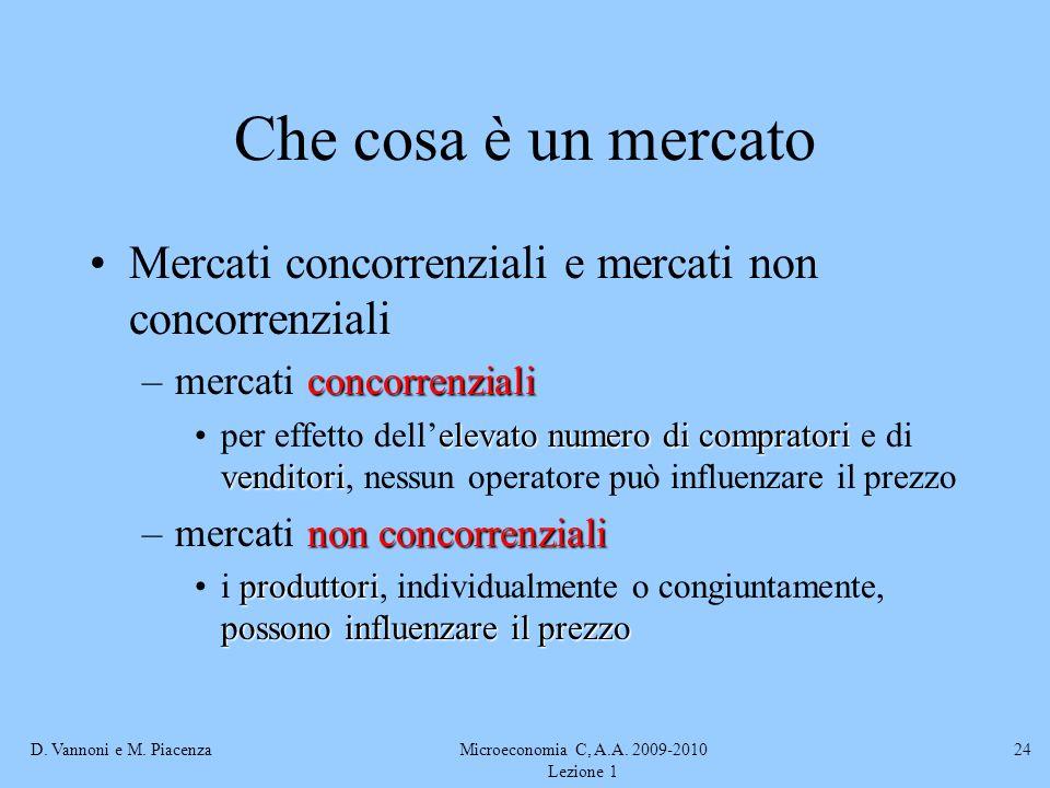 D. Vannoni e M. PiacenzaMicroeconomia C, A.A. 2009-2010 Lezione 1 24 Che cosa è un mercato Mercati concorrenziali e mercati non concorrenziali concorr
