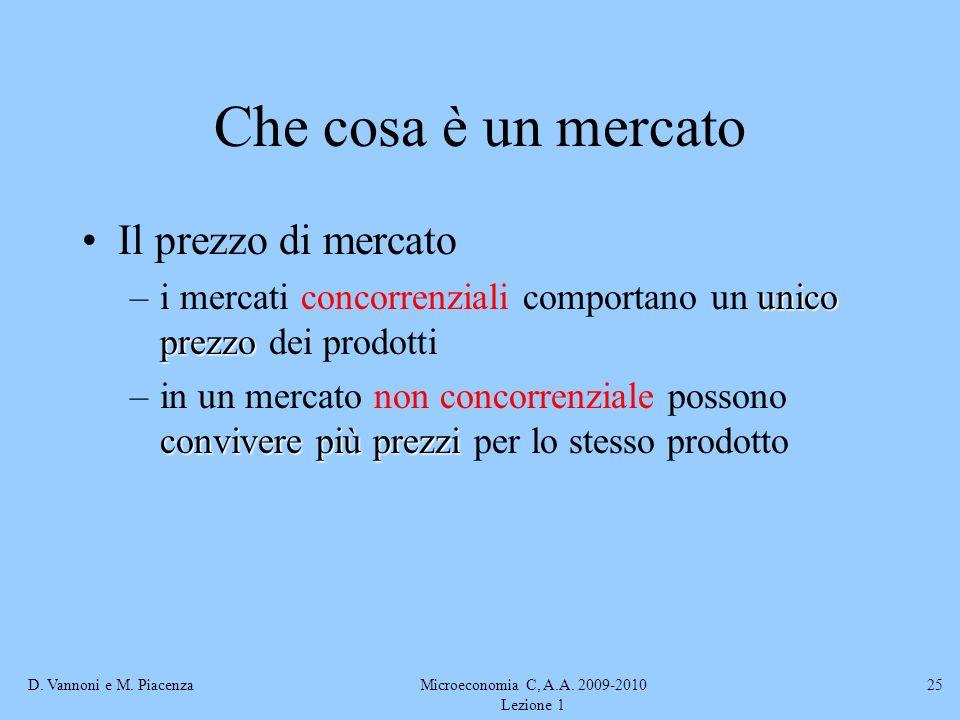 D. Vannoni e M. PiacenzaMicroeconomia C, A.A. 2009-2010 Lezione 1 25 Che cosa è un mercato Il prezzo di mercato unico prezzo –i mercati concorrenziali