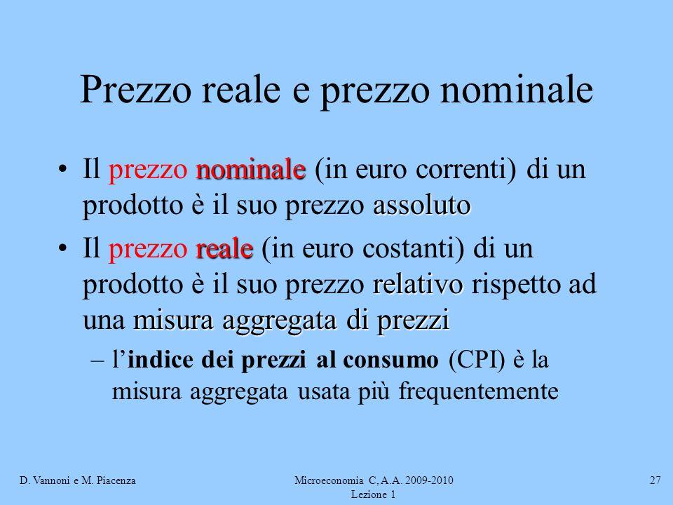 D. Vannoni e M. PiacenzaMicroeconomia C, A.A. 2009-2010 Lezione 1 27 Prezzo reale e prezzo nominale nominale assolutoIl prezzo nominale (in euro corre