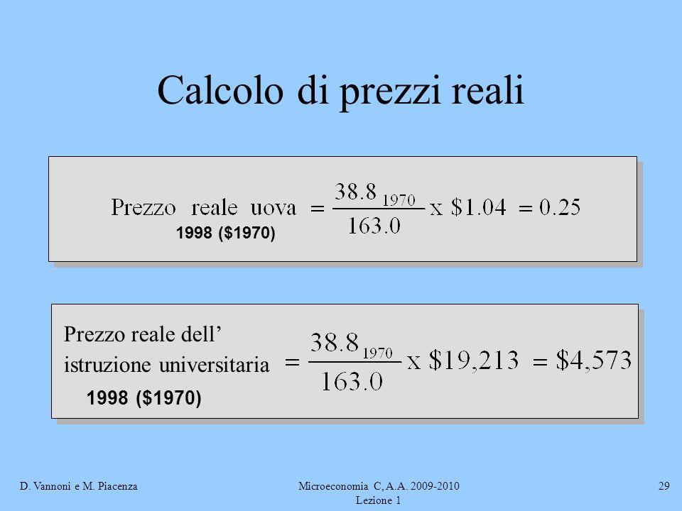D. Vannoni e M. PiacenzaMicroeconomia C, A.A. 2009-2010 Lezione 1 29 Calcolo di prezzi reali 1998 ($1970) Prezzo reale dell istruzione universitaria 1