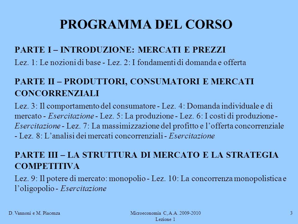 D. Vannoni e M. PiacenzaMicroeconomia C, A.A. 2009-2010 Lezione 1 3 PROGRAMMA DEL CORSO PARTE I – INTRODUZIONE: MERCATI E PREZZI Lez. 1: Le nozioni di