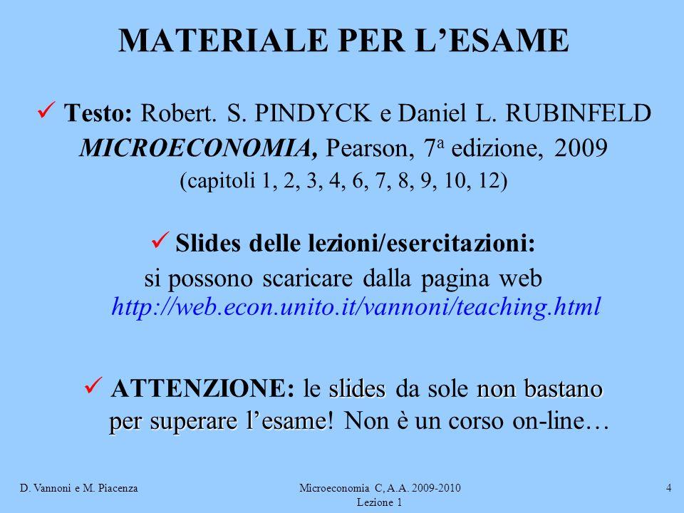 D. Vannoni e M. PiacenzaMicroeconomia C, A.A. 2009-2010 Lezione 1 4 MATERIALE PER LESAME Testo: Robert. S. PINDYCK e Daniel L. RUBINFELD MICROECONOMIA