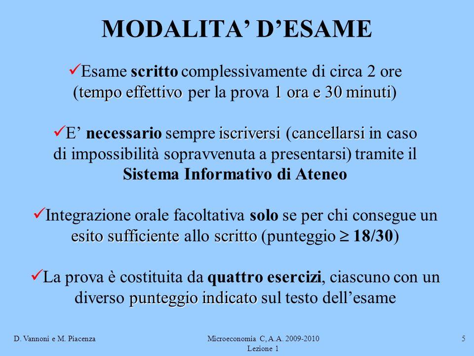 D. Vannoni e M. PiacenzaMicroeconomia C, A.A. 2009-2010 Lezione 1 5 MODALITA DESAME Esame scritto complessivamente di circa 2 ore tempo effettivo1 ora