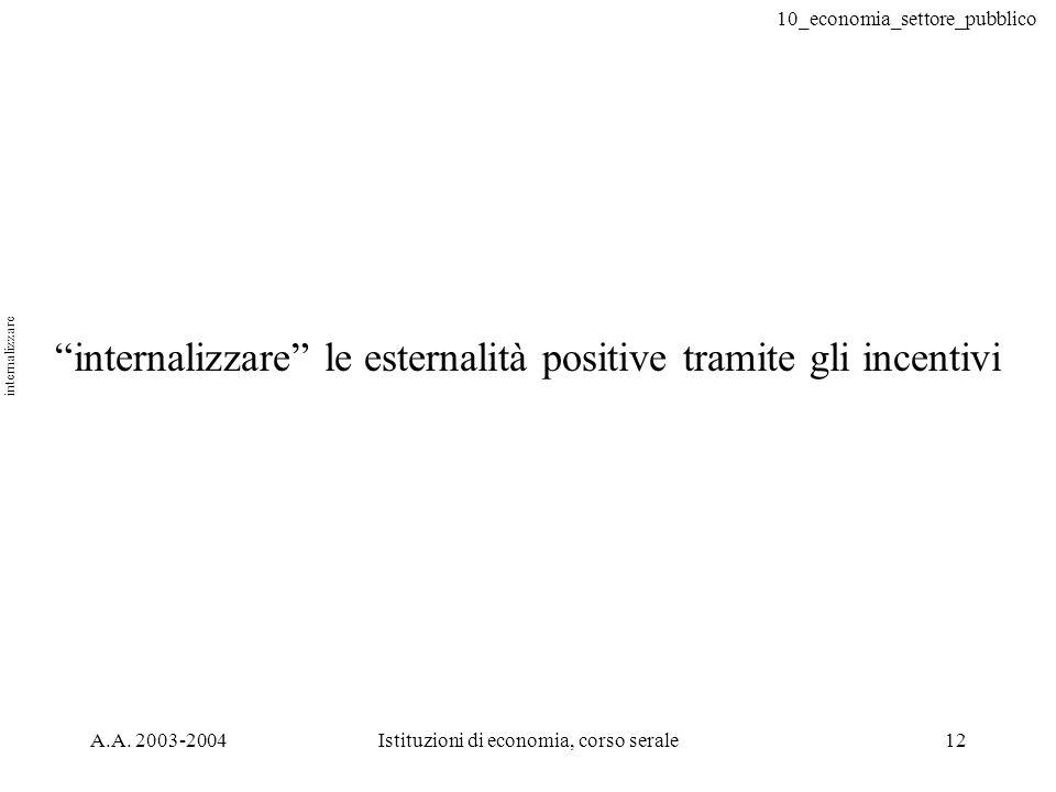 10_economia_settore_pubblico A.A. 2003-2004Istituzioni di economia, corso serale12 internalizzare le esternalità positive tramite gli incentivi intern