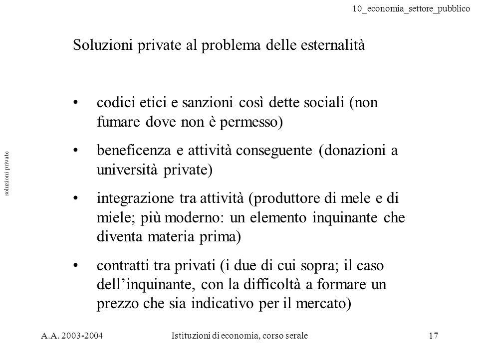 10_economia_settore_pubblico A.A. 2003-2004Istituzioni di economia, corso serale17 Soluzioni private al problema delle esternalità codici etici e sanz