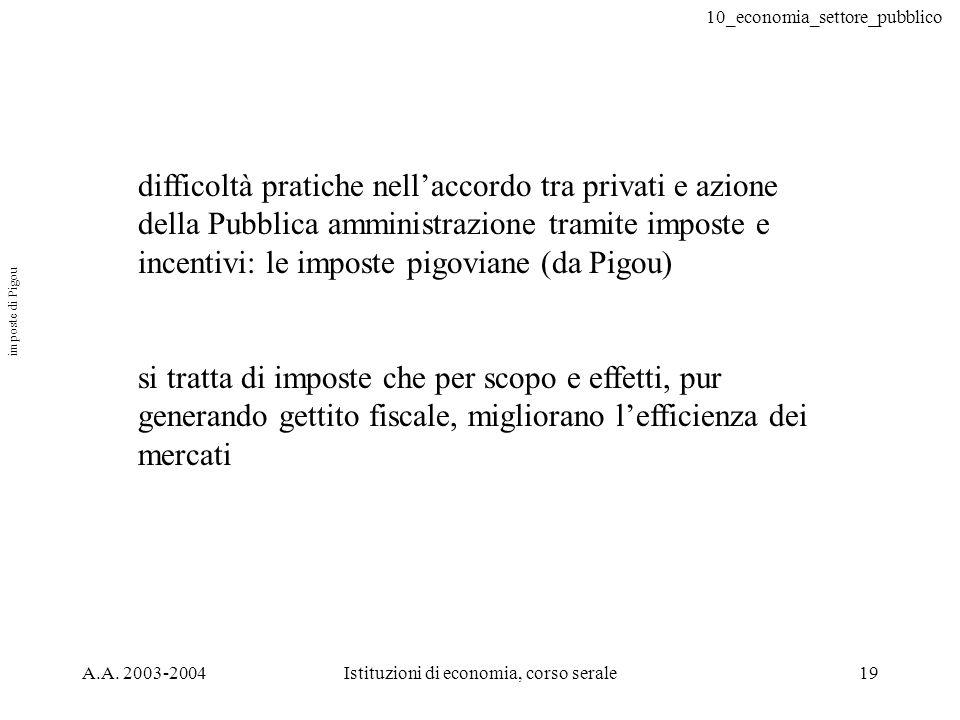 10_economia_settore_pubblico A.A. 2003-2004Istituzioni di economia, corso serale19 difficoltà pratiche nellaccordo tra privati e azione della Pubblica